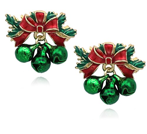 Jingle Bows - cocojewelry Christmas Red Bow Jingle Bell Post Stud Earrings Jewelry (Green)