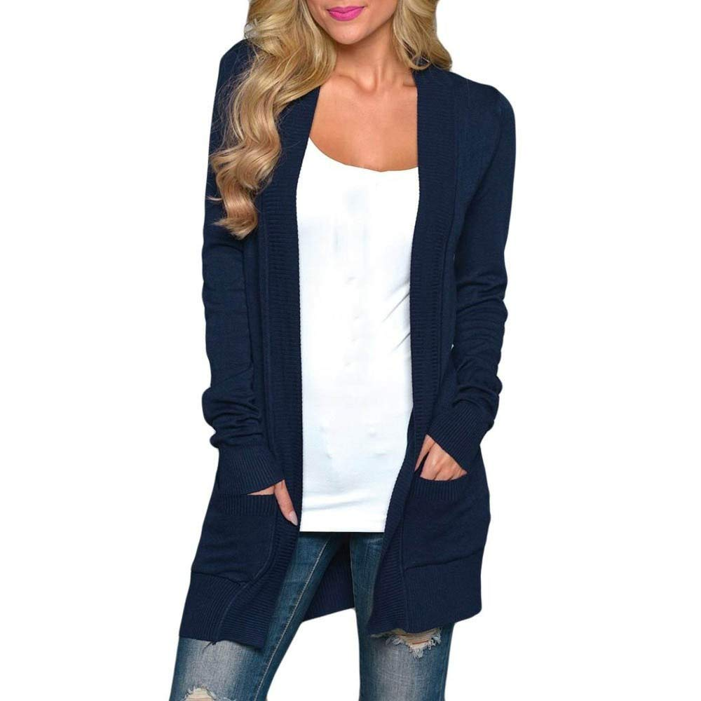 Liraly Womens Tops Clearance Plus Size Womens Solid Long Sleeve Fashion Cardigan T-shirt Tops Sweater Coat Casual Blouses (US-4 /CN-S,Blue)