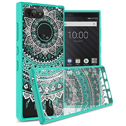 CoverON [ClearGuard Series] For Blackberry KEY2 Case, Slim Fit Phone Cover with Clear Hard Back and TPU Bumpers for Blackberry KEY2 - Teal Mandala Design