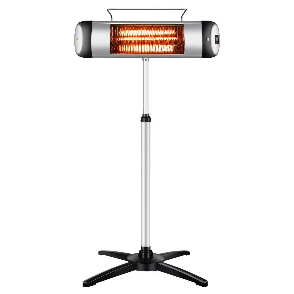 Patio Heater, Sundate Indoor/Outdoor Infrared Space Heater with Remote Control, 3 Power Levels, 24-hour Timer, Free Standing or Wall Mounted, 1500W, NX-1500R