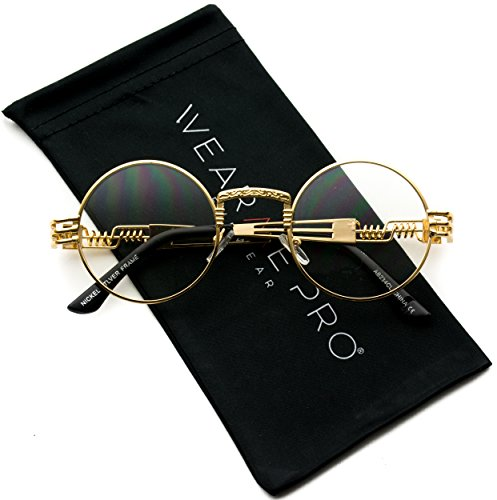 WearMe Pro - Metal Frame Retro Round Clear Lens - Frames Men School Glasses Old