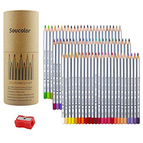 Soucolor 72-color Soft Core Colored Pencils Art Colored Pencils for Artist and Coloring Books