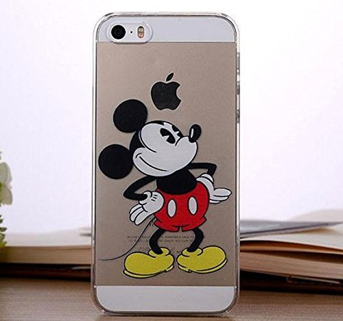 for iPhone 5 / 5S - Disney Mickey & Minnie Mouse Apple Logo Clear Transparent Hard Back Protector Case Cover *Includes Free Tempered Glass* [Apple iPhone 5/5S Only] (Mickey Looking)