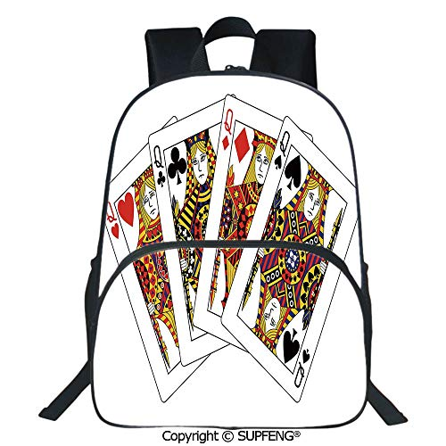 (SCOXIXI School Back Queens Poker Set Faces Hearts and Spades Gambling Theme Symbols Playing Cards (15.75