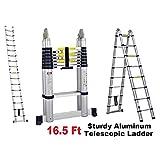 ProLad Portable 16.5 Feet Telescoping Aluminum Extension Ladder Heavy Duty, 12 Steps