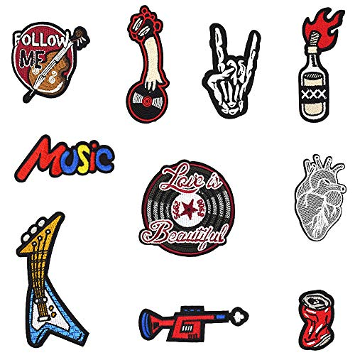 Rock Embroidered Iron on Patches for Clothes Jeans Jackets DIY Accessory (10 Pcs/Pack)