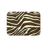 Society6 Animal Print Zebra In Winter Brown And Beige Bath Mat 21'' x 34''