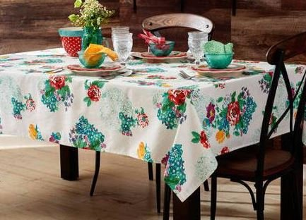 """The Pioneer Woman Tablecloth Check Floral Kitchen Linens (52""""x70"""" Tablecloth, Country Garden Floral)"""