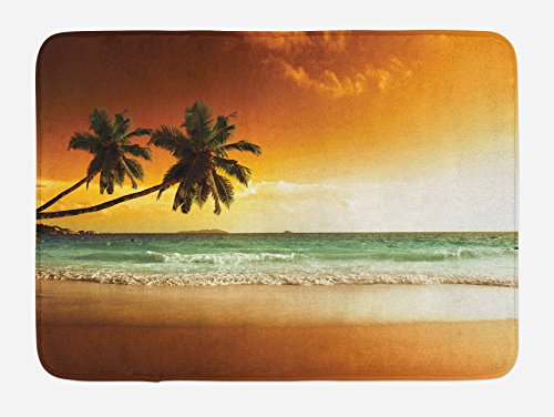 Ambesonne Tropical Bath Mat, Palm Trees over Wavy Ocean Sandy Beach and Dramatic Sky Exotic Vacation, Plush Bathroom Decor Mat with Non Slip Backing, 29.5 W X 17.5 W Inches, Amber Green White