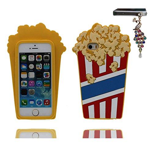 Coque pour iPhone 5, [ TPU Material Flexible Popcorn ] Étui pour iPhone 5S 5C 5G SE, Dust Slip Scratch Resistant, Case souple durable et Bouchon anti-poussière