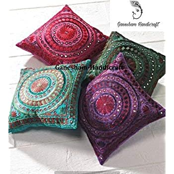 Indian Decorative Handmade Mirror Toss Pillow Cover Floral Pillow Case Decorative Sofa Boho Chic Bohemian Throw Pillow, Sequin Pillow Insert Hand Embroidered Cushion Cover( Set of 4 piece)