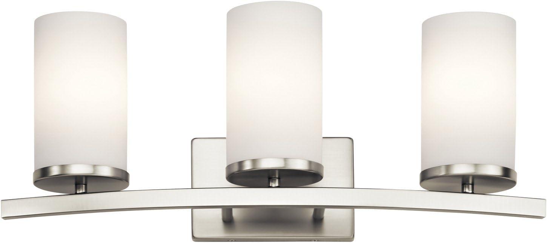 Kichler 45497NI Crosby Vanity, 3 Light Incandescent 300 Total Watts, Brushed Nickel