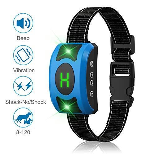 Dansrue Dog Bark Collar, Pet Dog Anti Bark Collar with Beep/Vibration/ Harmless Shock Mode, Humane No Bark Training Collar for Small Medium Large Dog with Breathing Light, Rechargeable and Waterproof
