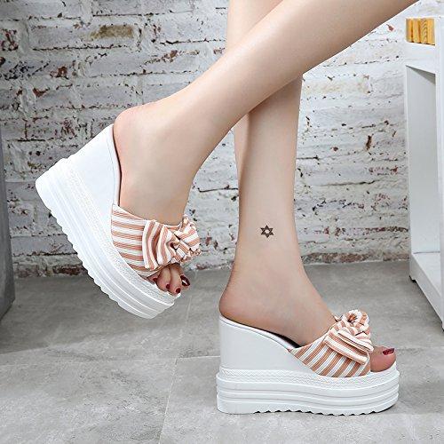 KPHY Damenschuhe Neigung und Pantoffeln Hoher Hoher Hoher Sommer Tragen Dicke Rutschfeste Schuhe Unten Muffin 11Cm High-Heel schuhe. 3fd922