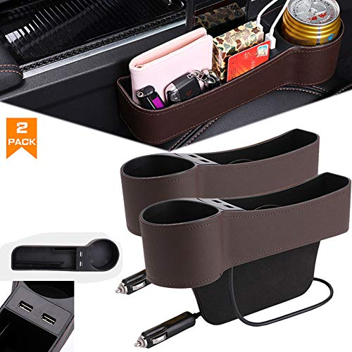 Airphe Car Seat Gap Organizer Filler Car Console Side Pocket PU Leather Car Seat Gap Filler with 2 USB Charging Car Console Side Organizer with Cup Holder for Cellphones Wallet Coin Key Brown-2pack