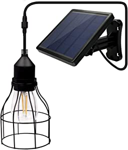 Solar Lights Outdoor, Dopwii Solar Hanging Latern Light, IP44 Waterproof Solar Light Indoor with E27 Industrial Edison Bulb, 16Ft Cord, Shed Solar Light Decorative for Garden Home Patio Pathway