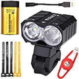 Evolva Future Technology Bike Light USB 1800LM Cree with 7 Hours Runtime Original Samsung Battery Pack - Front and Back Rechargeable Set Headlight with High Dipped Beam Functions and Integrated 360 Degree Rotatable Mount