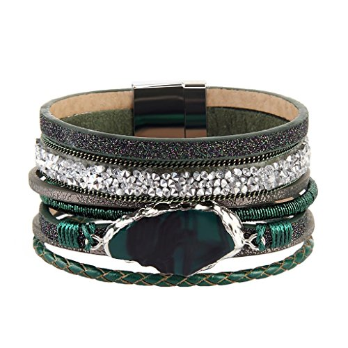 COOLLA Braided Wrap Bracelet Agate Stone Crystal Leather Cuff Bangle Women Bracelet (Green leather bracelet)