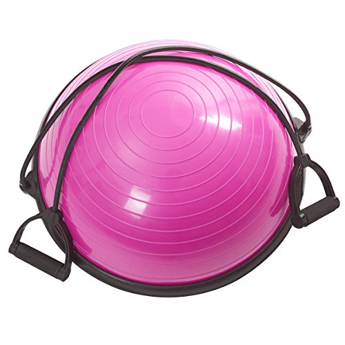 Fitness Yoga Ball Balance Trainer Yoga Strength Exercise Workout w/Pump Rose