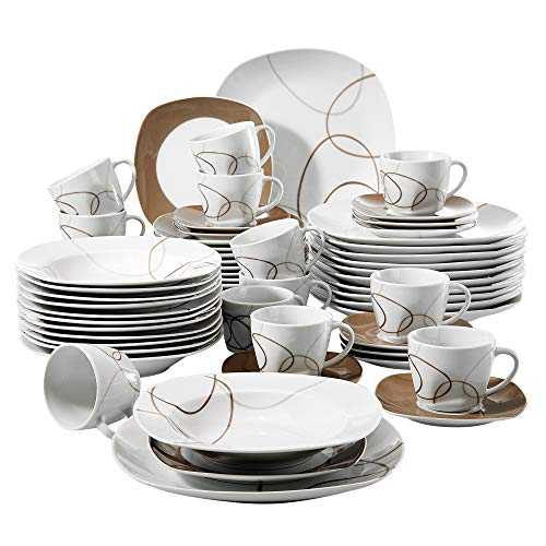 VEWEET 60-Piece Porcelain Dinnerware Set Brown Lines Patterns Plate Sets Stoneware Plates Saucers Mugs, Service for 12 (NIKITA Series)