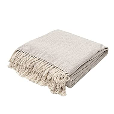 Jaipur Soft Hand Solid Pattern Gray Cotton Throw, 50-Inch x 60-Inch, Neutral Sea-1