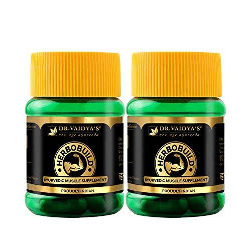 Dr. Vaidya's Herbobuild Ayurvedic Capsules for Muscle Gain, 30 Capsules Each (Pack of 2)
