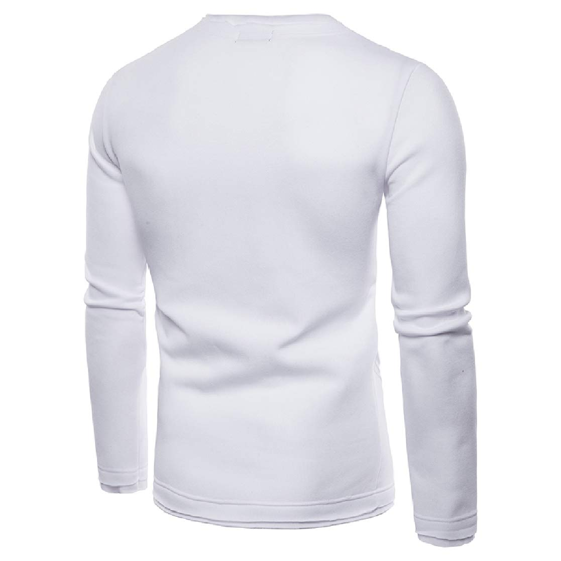YUNY Mens Inclined Zipper Crewneck Simple Long Sleeve Pullover Tracksuit Top White M