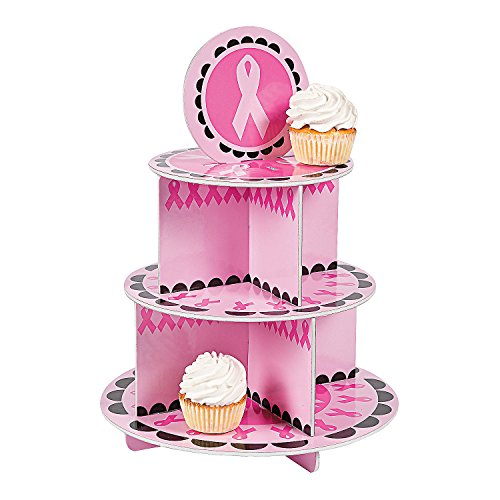 Fun Express Pink Ribbon Breast Cancer Awareness Party Cupcake Holder -