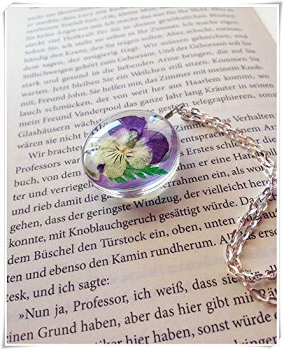 - Pendant Pansy Fern Real Flower and Fern in Resin Necklace,Dried Flower Necklace,Genuine Flower Ornament