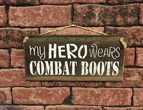 My Hero Wears Combat Boots Barn Wood Plaque ()
