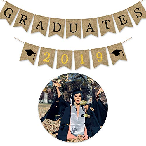 High Signs - 2019 Graduation Banner Party Decorations, No DIY Required Grad Graduation Supplies Banner Congrats Signs for College High School Party (Graduates of 2019) Type-1