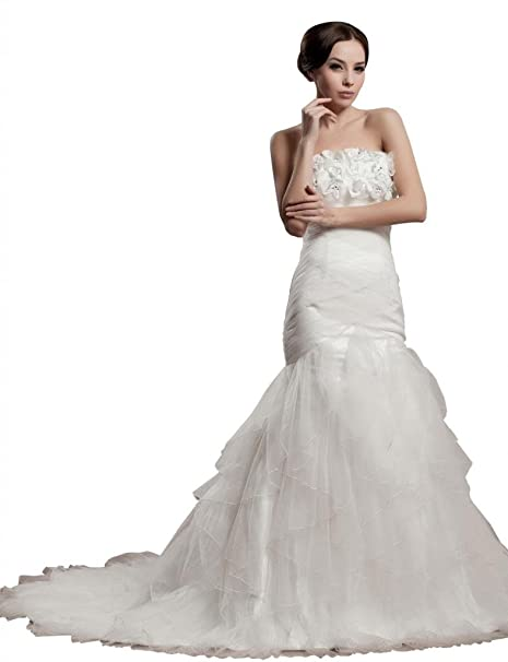 George Bride al aire libre sirena Organza y satén de formal vestido de novia Vestidos de