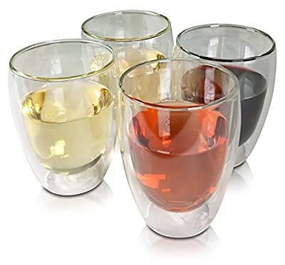 Princeton Wares Double Wall Insulated Glass Stemless White Wine Glass 12 Ounce - Set of 4