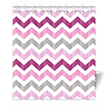 Pink and Grey Chevron Shower Curtain HommomH 65