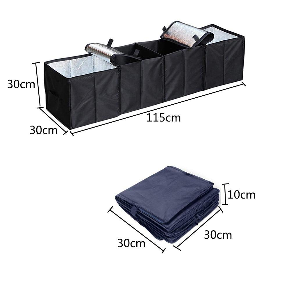 Yunhigh-uk Car Boot Organiser Storage Box Large with 2 Insulation Cooler Bag 4 Compartments for Camping Travel Picnic Perfect for Tidy Auto Organization and Boot Maintenance for Car SUV Truck Auto