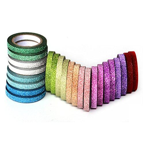 YUTIAN 10 Colors 5mm 20 Pcs Skinny Glitter Paper Washi Tape (20pcs)