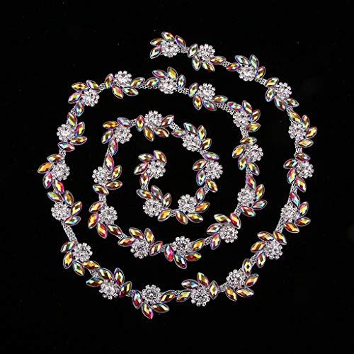 1yd Crystal AB Rhinestone Bead Sewing Trim Chain Ribbon Bridal Wedding Decor | Color - Purple red