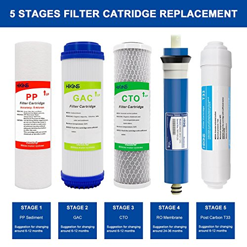 b62db9a5d8fb HiKiNS Reverse Osmosis Replacement Filter Set (PP Sediment,GAC,CTO,T33 Post