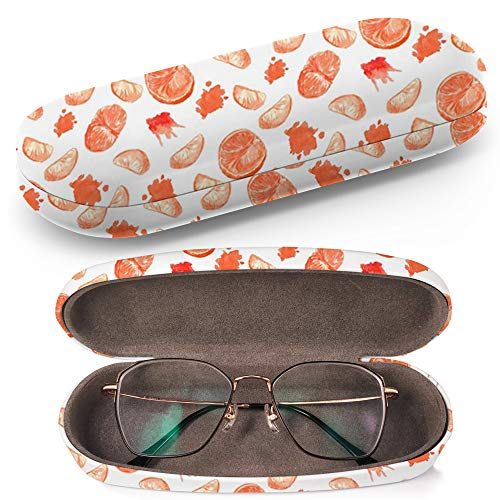 - Hard Shell Glasses Protective Case with Cleaning Cloth for Eyeglasses and Sunglasses - Semless Mandarin Orange Splashes