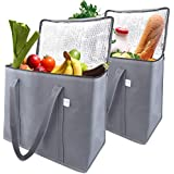 EFB Solutions Insulated Reusable Grocery Shopping Bags Long Handles Premium Quality Extra Large 16 x 13 x 9 Foldable Insulation Cooler Tote Bag   2 Pack