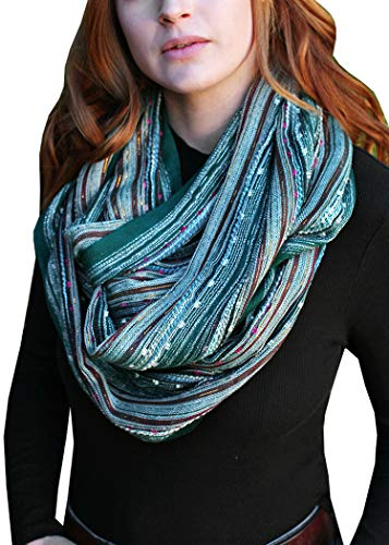 (Women's Shimmer Sparkle Infinity Scarf, Festival Bliss Lightweight Fashion Shawl (Pine Frost Green))