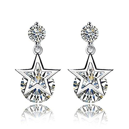 FIFATA Fashion Elegant Cute Lady Girls Love Wing Leaves Crystal Earrings (E-136XX)