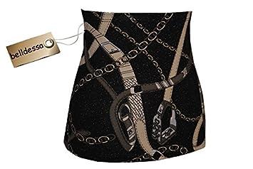 Belldessa 3 in 1 : Jersey - Nierenwärmer / Shirt Verlängerer / Accessoire - Frau S - Ketten Muster schwarz grau - Bauchband / Bauchwärmer