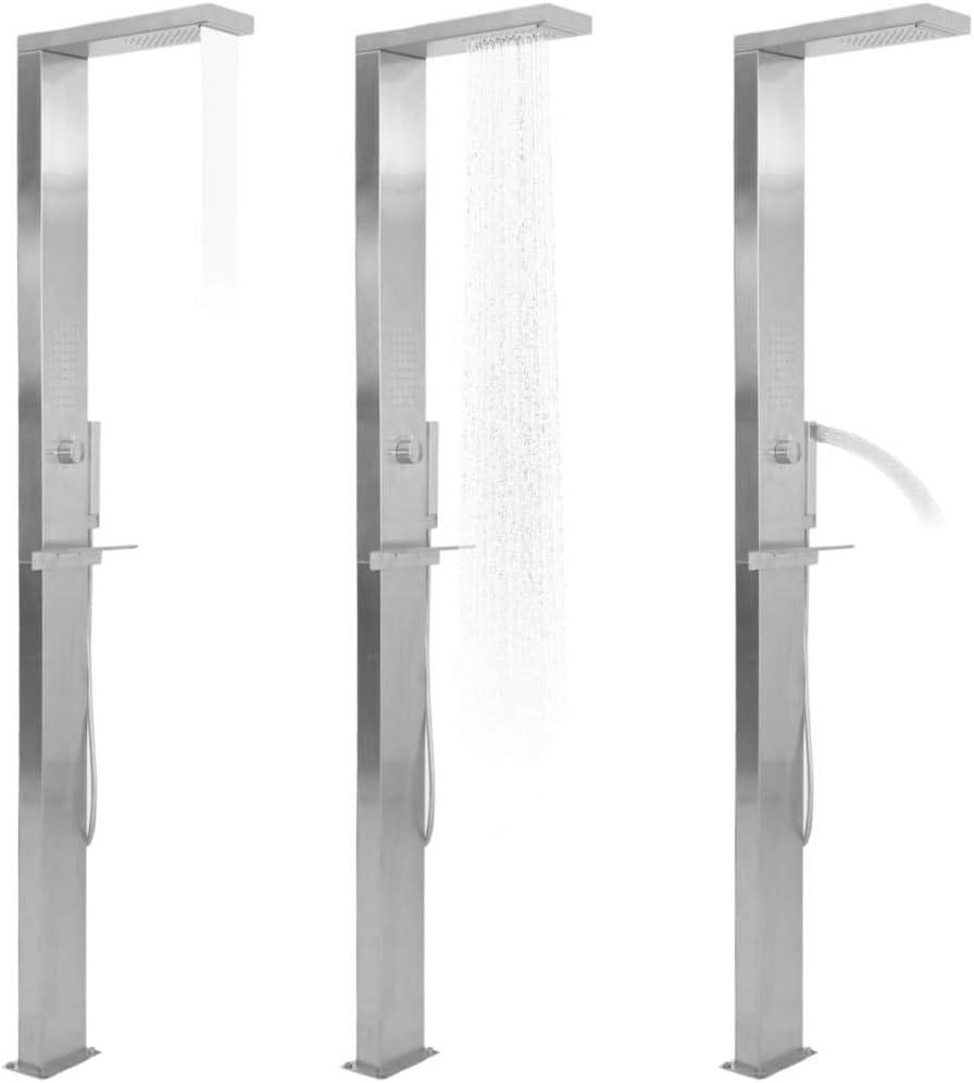 vidaXL Ducha para Jardín Patio Exterior Piscina Juego Completo para Ducharse de Acero Inoxidable con Diseño Curvado