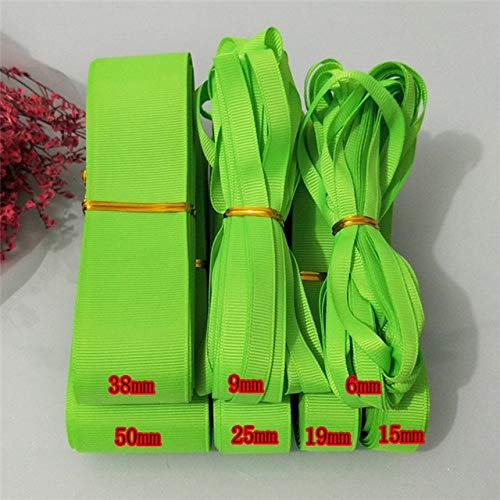 Jammas 10yards (9meters) Pick Size 6mm 9mm 15mm 19mm 25mm 38mm 50mm Width 100% Polyester Solid Color Plain Grosgrain Jammas (Color: Apple Green 0118, Size: 6mm)