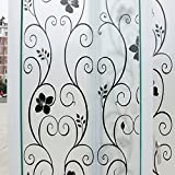 Mikomer Decorative Window Film Black Flower Static Cling Privacy Door Film, Non Adhesive/Removable/Heat Control/Anti UV for Office and Home,17.5In. by 78.7In.