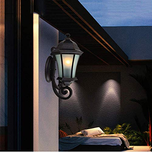 Wisdom Outdoor Wall Lights 1-Lamp Outdoor Wall Sconce Lantern Lamp Fixture Glass with Die-Cast Aluminum Black Finish Exterior Garden Lamp up Vintage Ip55 Outside Lighting, Height ()