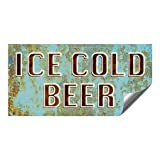 CGSignLab |''Ice Cold Beer -Ghost Aged Blue'' Heavy-Duty Industrial Self-Adhesive Aluminum Wall Decal | 24''x12''