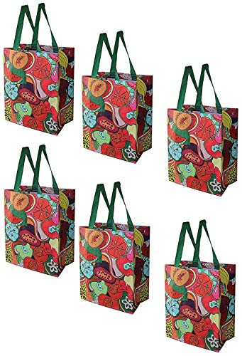 Earthwise Reusable Grocery Bags Shopping - Totes (Pack of 6) (Fruit Collage)