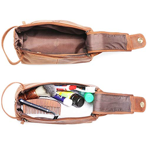 Rustic Town Buffalo Leather Toiletry Bag : Vintage Travel Shaving & Dopp Kit : for Toiletries, Cosmetics & More…